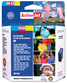 Inkoust ActiveJet AH-657   Color   21 ml   Refill   HP C6657A
