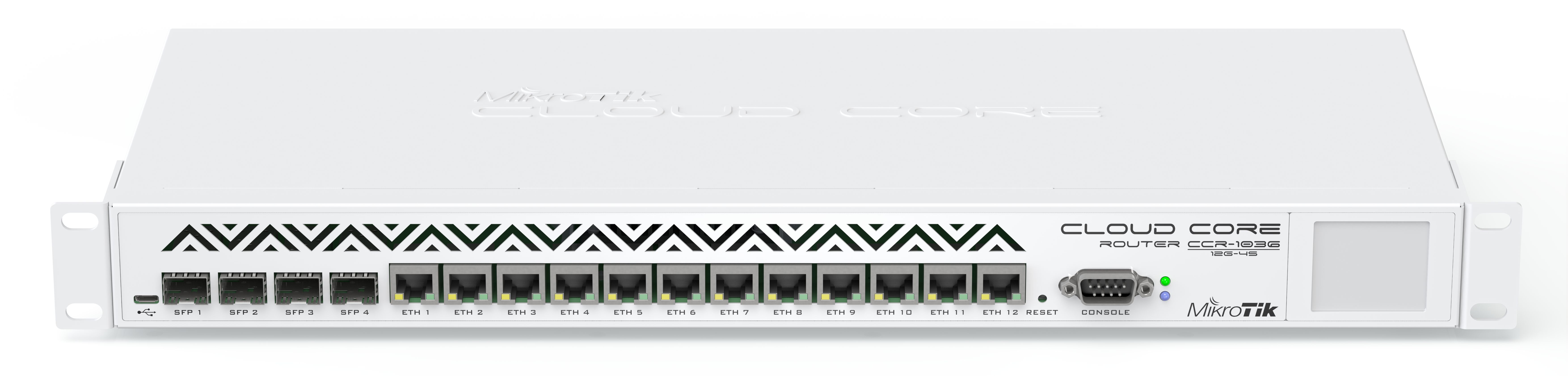 MikroTik Cloud Core Router CCR1036, 12x Gbit LAN, 4x Gbit SFP port, 16GB, dotykové LCD, vč. L6