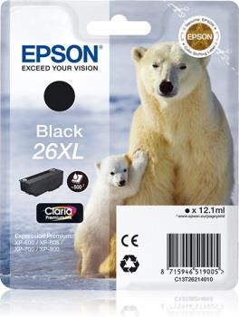 Inkoust Epson T2621 XL black Claria | 12,2 ml | XP-600/700/800