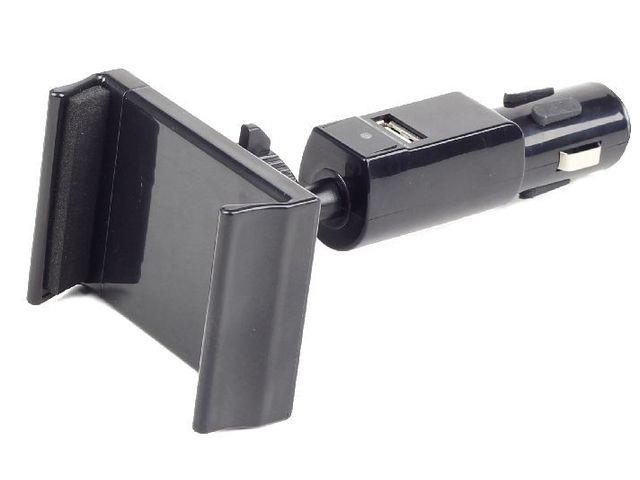 Gembird car smartphone holder with charger 12V/24V + USB 2.1A.