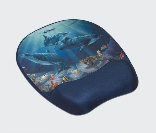 Fellowes gelová podložka pod myš a zápěstí Memory Foam, delfíny