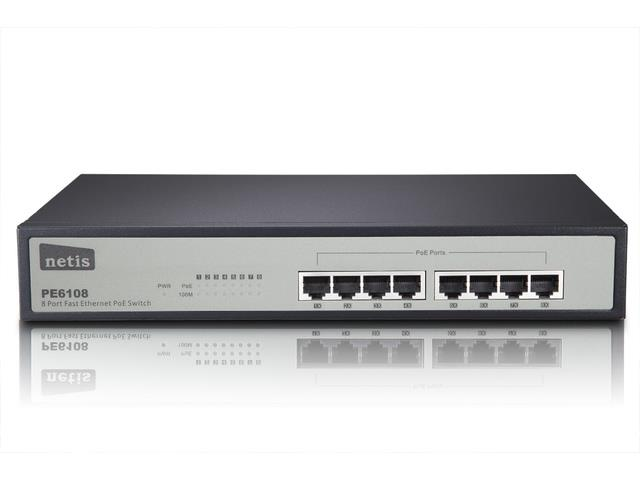 Netis Switch POE 19'' 8-port 100 MB (8 ports POE, 15,4W/Port, max 124W)