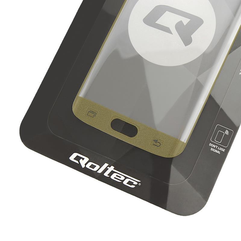 Qoltec tvrzené ochranné sklo premium pro smartphony Sam.S7 edge  full cover gold
