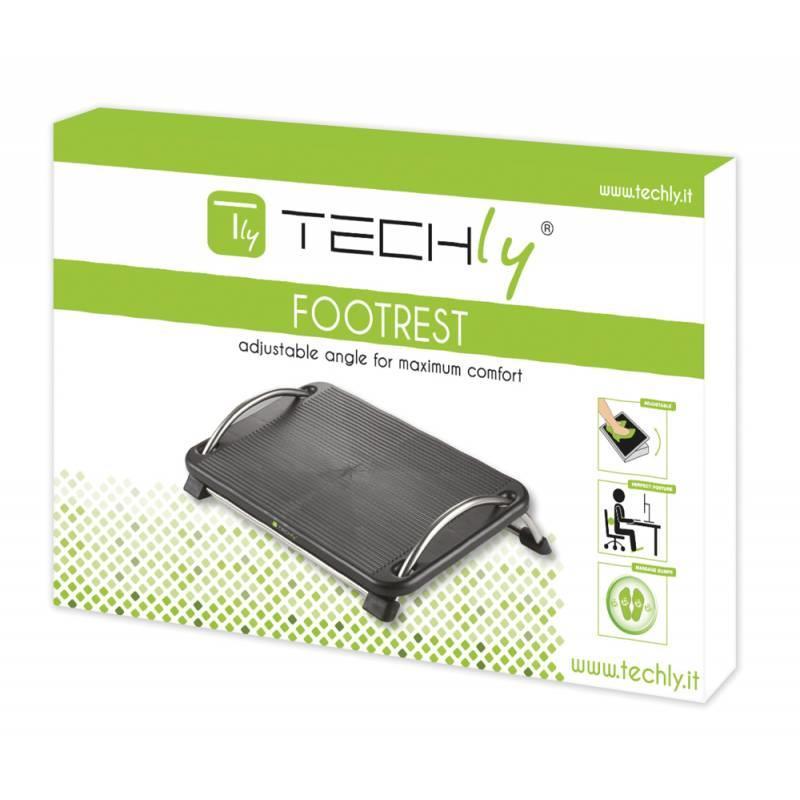 Techly ergonomická podnožka pod nohy s nastavitelným úhlem sklonu, černá