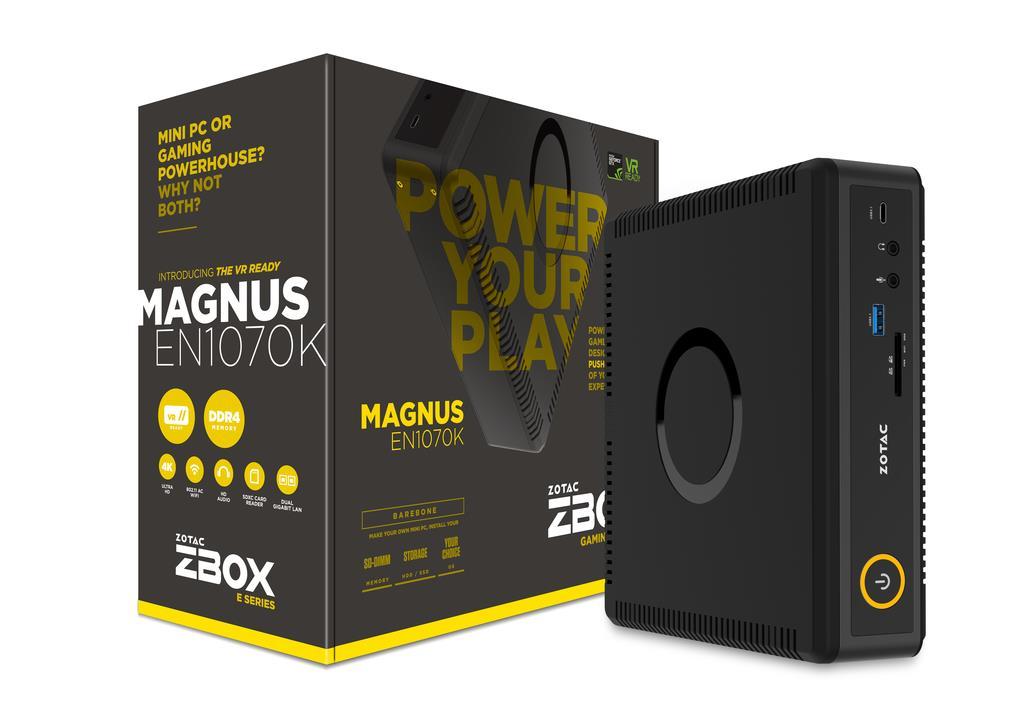 ZOTAC ZBOX EN1070K-BE, NVIDIA GTX1070, 2x DDR4 SODIMM, M2 SSD, 2.5'' SATAIII