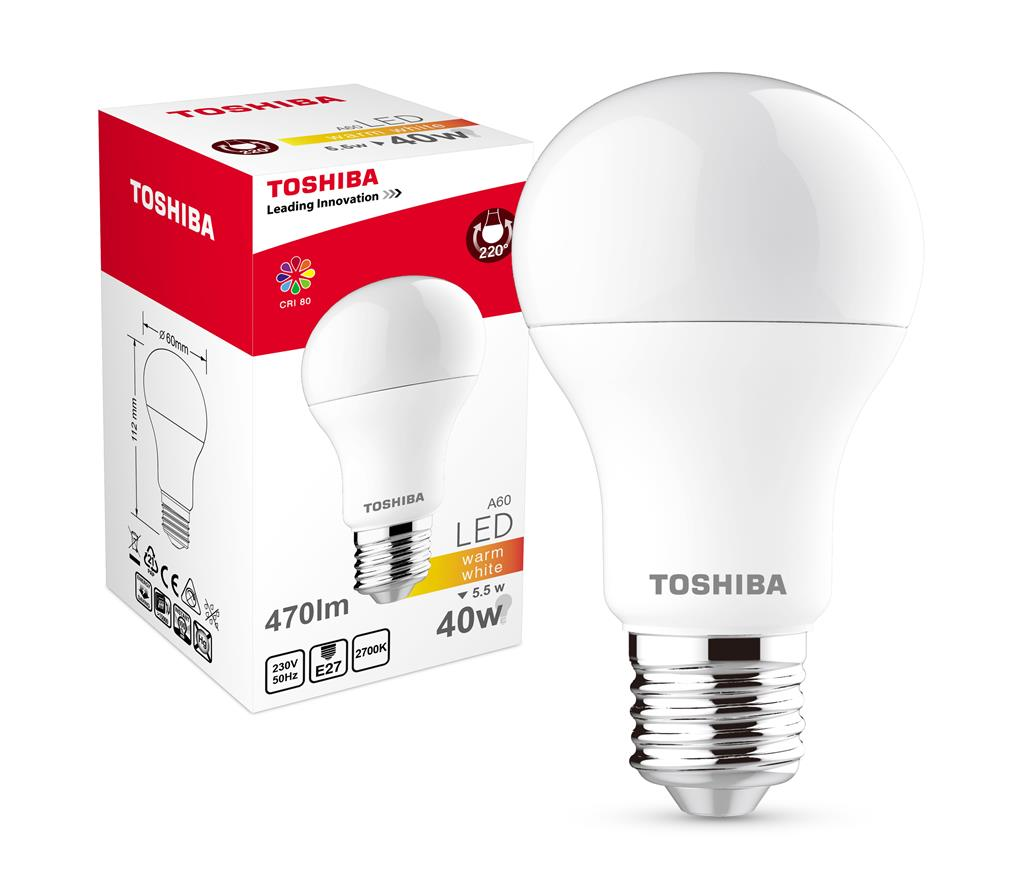 TOSHIBA A60 | 5,5W (40W) 470lm 2700K 80Ra ND E27