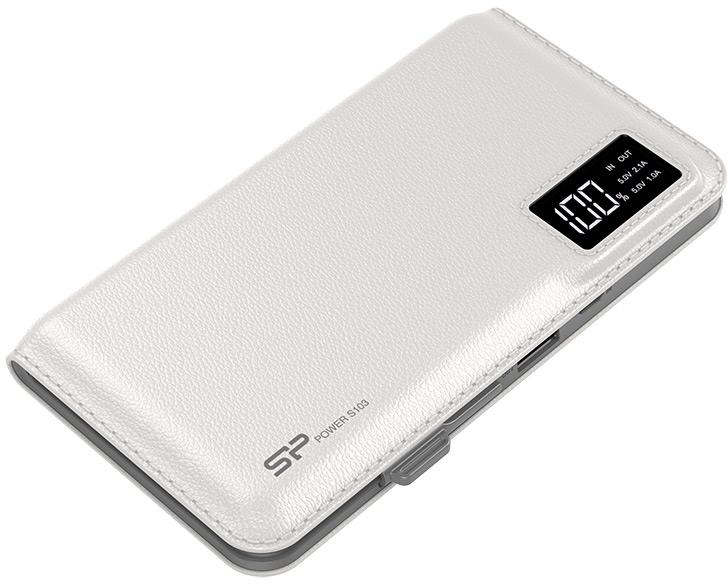 Silicon Power S103 Power Bank 10000mAH, microUSB, USB, LCD, bilá