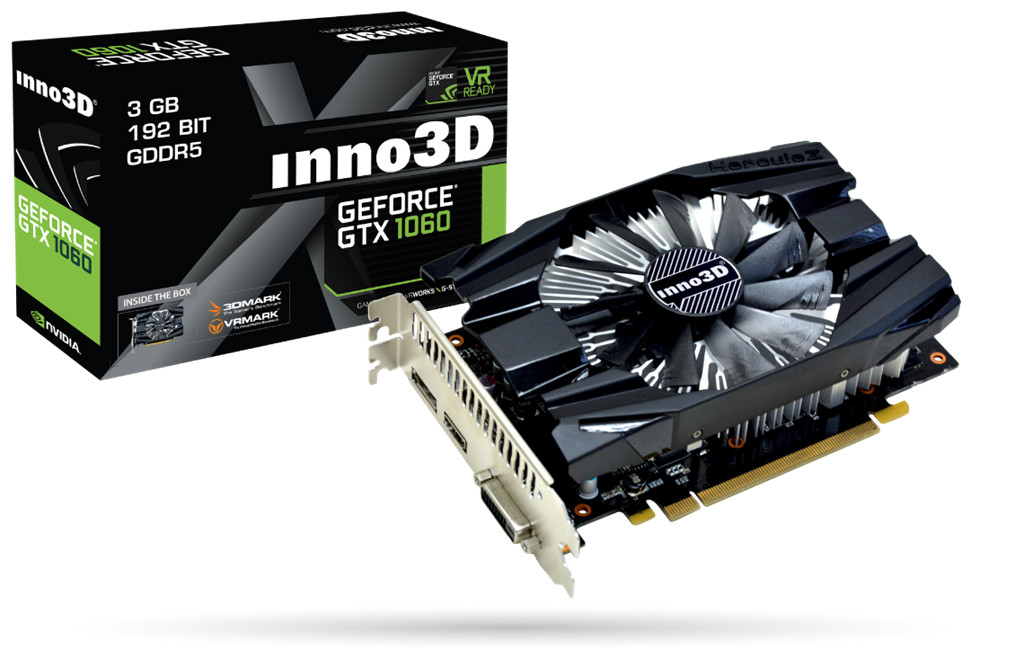 Inno3D GeForce GTX 1060 3GB Compact 2, HDMI 2.0b, Display Port 1.4 DVI-D