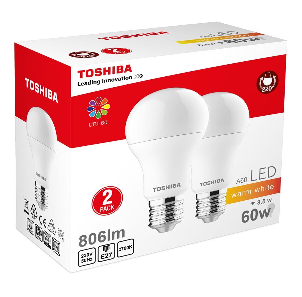 TOSHIBA A60 duo pack | 8,5W (60W) 806lm 2700K 80Ra ND E27