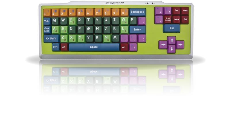 Esperanza EK121 vzdělávací klávesnice pro děti, USB, barevná