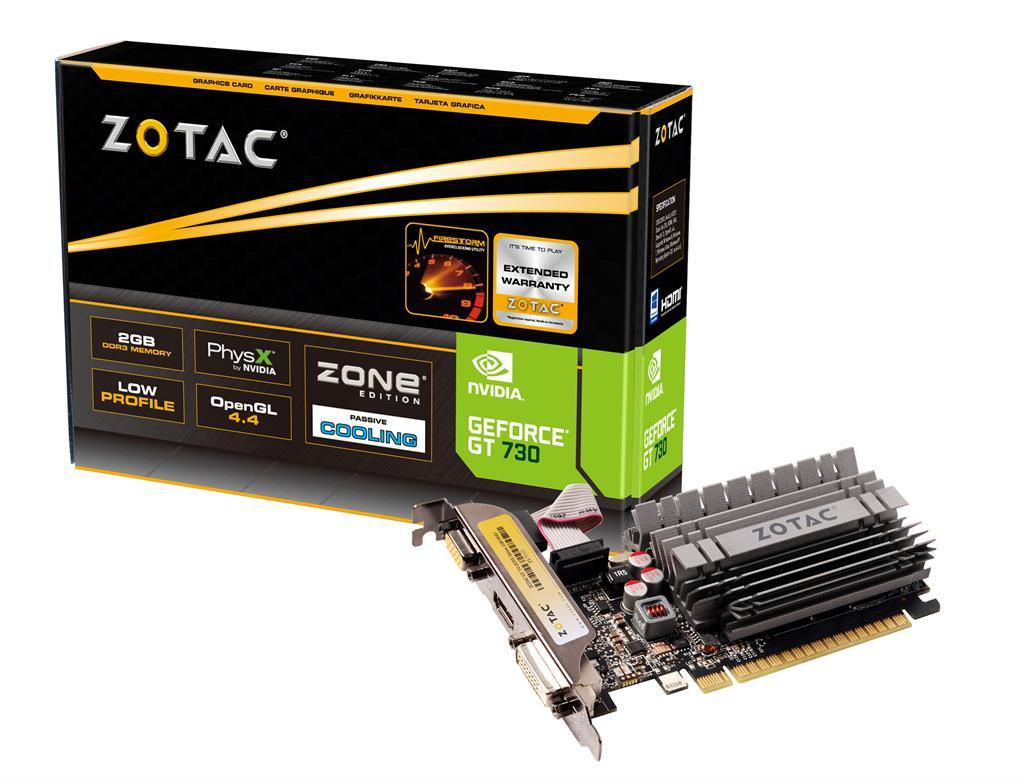 ZOTAC GeForce GT 730 ZONE Edition Low Profile, 2GB DDR3 (64 Bit), HDMI, DVI, VGA