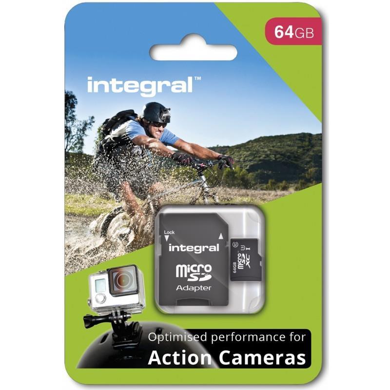 INTEGRAL micro SDHC/SDXC pro Action Camera Card (testováno s GoPro), 64GB