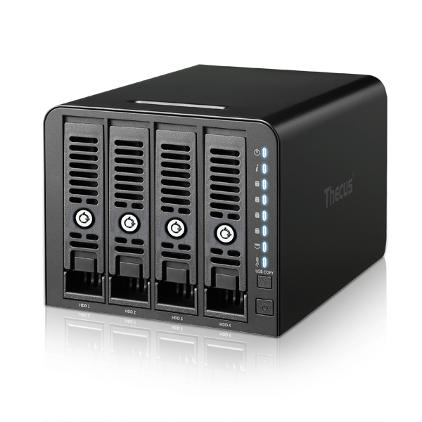 Thecus 4-Bay tower NAS, SATA, 1.8GHz, 1GB DDR4, 1x GbE, USB 3.0