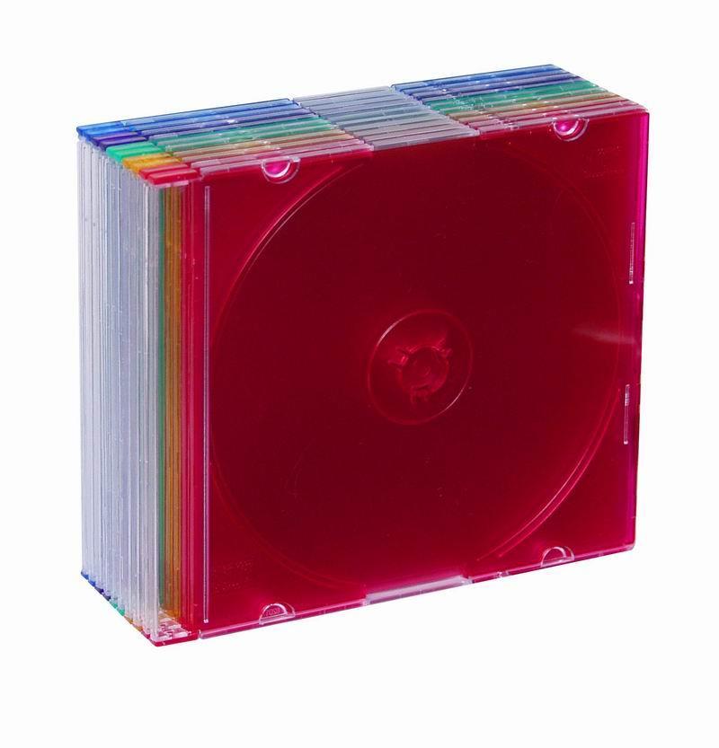 Esperanza Plastové krabičky slim 5,2mm na CD/DVD | 10 ks, barevné