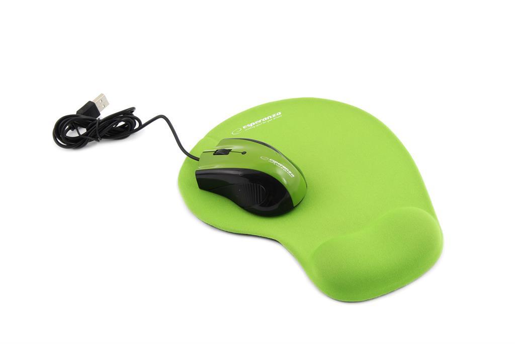 Esperanza EM125G Opticka myš, 1200 DPI, USB + Gelová podložka, zelená, Blister