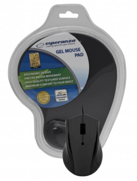 Esperanza EM125K Opticka myš, 1200 DPI, USB + Gelová podložka, černá, Blister