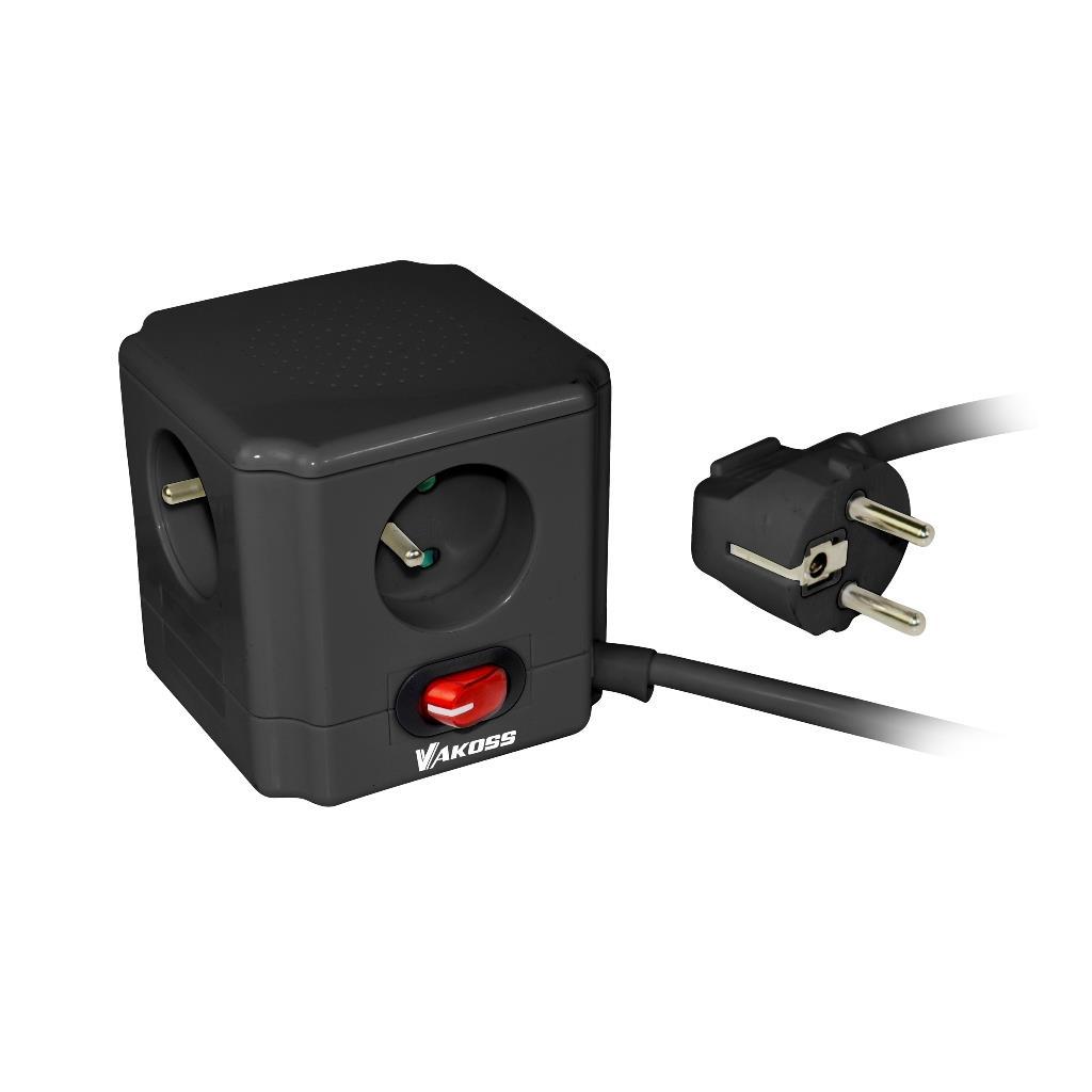 VAKOSS Zásuvka Proužek 4 zásuvky, kabel 1,5m, vypínač, přepěťová ochrana, černá