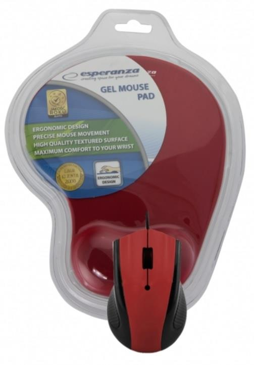 Esperanza EM125R Opticka myš, 1200 DPI, USB + Gelová podložka, červená, Blister