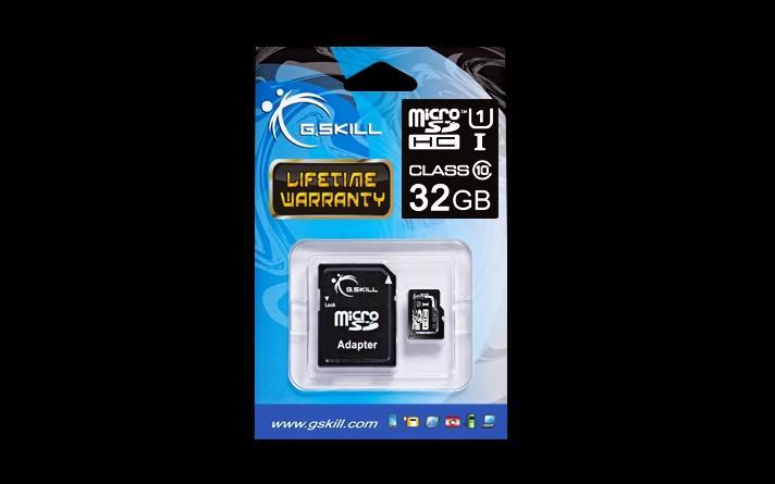 G.Skill paměťová karta Micro SDHC 32GB Class 10 UHS-1 + adaptér