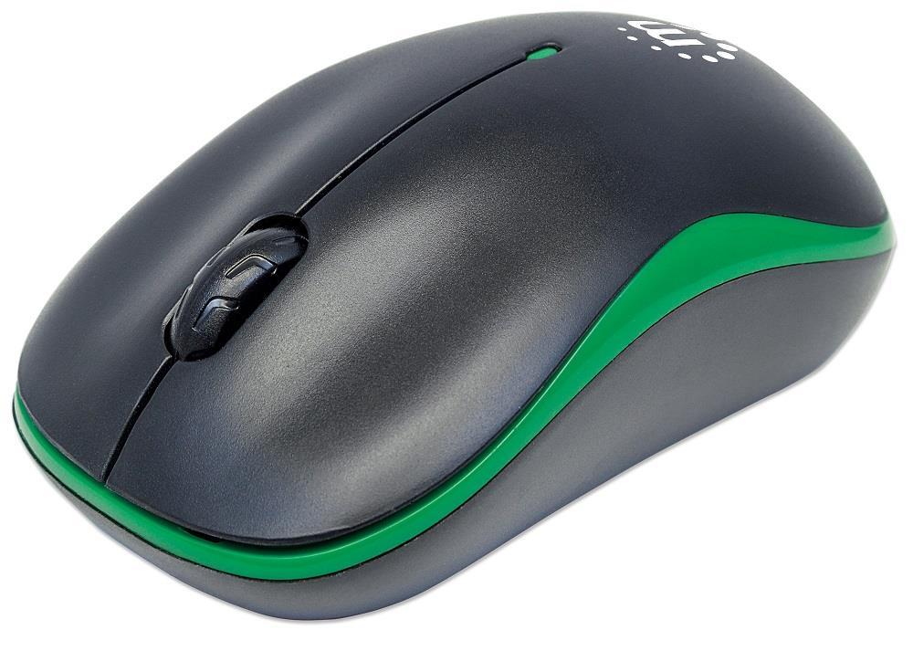 MANHATTAN Myš Success, USB optická, 1000 dpi, černo-zelená