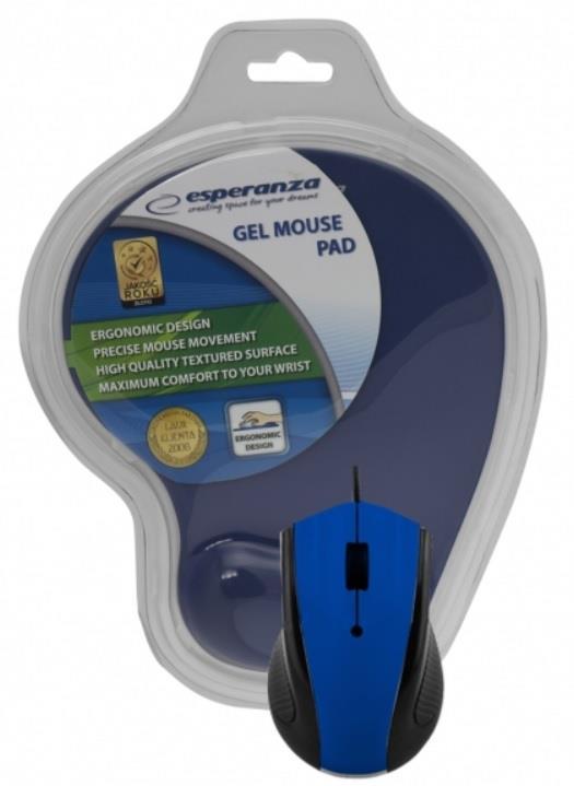 Esperanza EM125B Opticka myš, 1200 DPI, USB + Gelová podložka, modrá, Blister