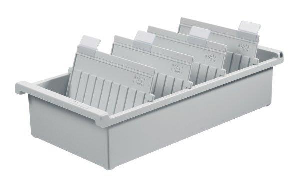 Kartotéka HAN Kartei, otevřený, polystyren, A4, šedý