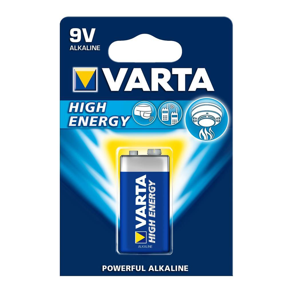 VARTA alkaline batteries Hi-voltage 9V (typ 6LR61) 1pcs high energy