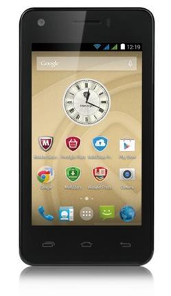 "PRESTIGIO MultiPhone 3405 DUO, 4"" IPS, Dual SIM, Android 4.4, Quad Core 1,2GHz, 4GB ROM,512MB RAM,MicroSD slot,LTE,černý"