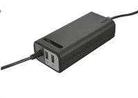 TRUST Univerzální napájecí adaptér pro notebooky + 2 x nabíjecí USB port, 70W Duo Laptop charger with 2 USB ports