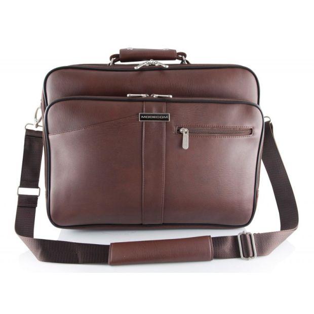 """Modecom brašna GENEVA 2 na notebooky do velikosti 15,6"""", kovové přezky, 2 komory, přední kapsa, hnědá"""
