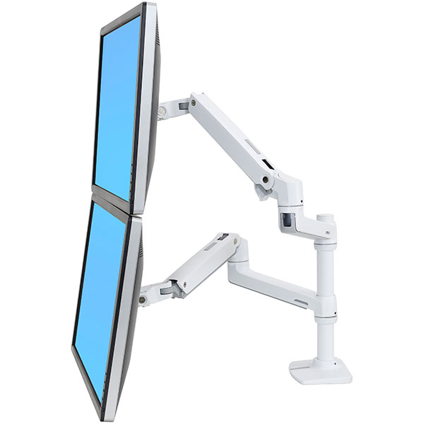 "ERGOTRON LX Dual Stacking Arm, stolní ramena pro 2 lcd. max. 27"", flexibilní , bílé"