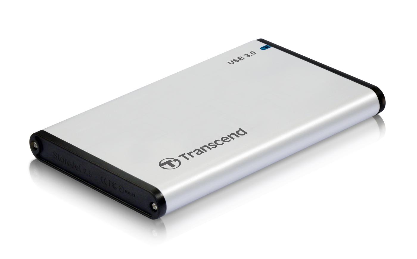 """Transcend StoreJet 25S3 externí rámeček pro 2.5"""" HDD/SSD, SATA III, USB 3.0, celohliníkový, stříbrný"""