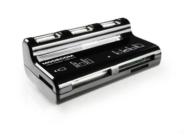 Modecom CR WAVE externí čtečka paměťových karet s pasivním 3-portovým USB 2.0 hubem, černá