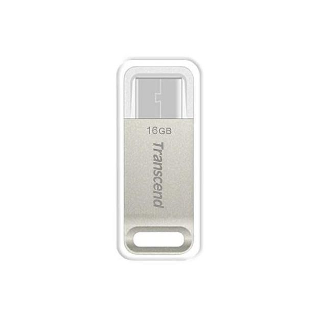 Transcend 16GB JetFlash 850S, USB-C (3.1 Gen 1) flash disk, malé rozměry, stříbrný kov, odolá prachu i vodě