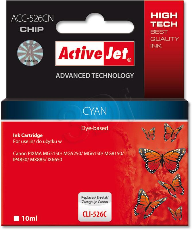 ActiveJet ink cartr. Canon CLI-526C - 10 ml - 100% NEW (WITH CHIP) ACC-526C