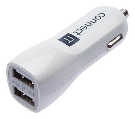 CONNECT IT PREMIUM nabíječka do auta 2xUSB 3.1A+1A, Bílá