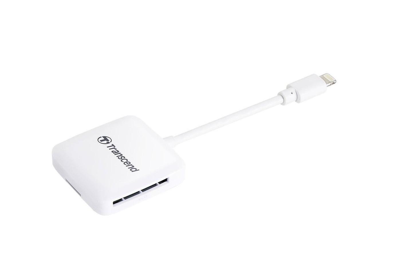 Transcend čtečka paměťových karet pro Apple iPhone/iPad/iPod, Lightning connector, bílá - SDHC / SDXC, microSDHC / S