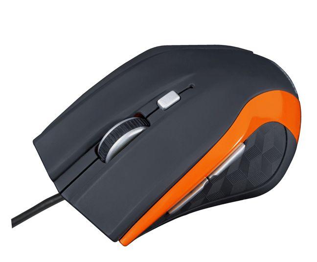 Modecom MC-M5 drátová optická myš, 5 tlačítek, 2400 DPI, USB, černo-oranžová