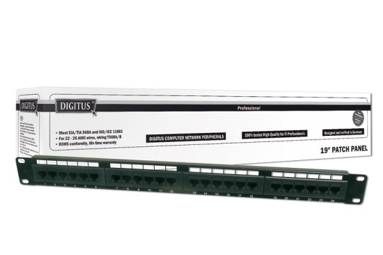 "Digitus Patch Panel, Cat 5e, nestíněný, 19"", 24 port , LSA"