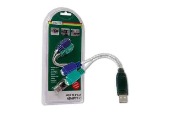 Digitus převodník USB na PS/2, 2xMiniDin6/F, USB A/M
