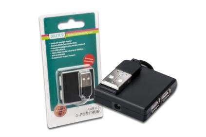 Digitus USB 2.0 hub, Vysokorychlostní rozbočovač, 4-porty, černý, bez napájecího zdroje
