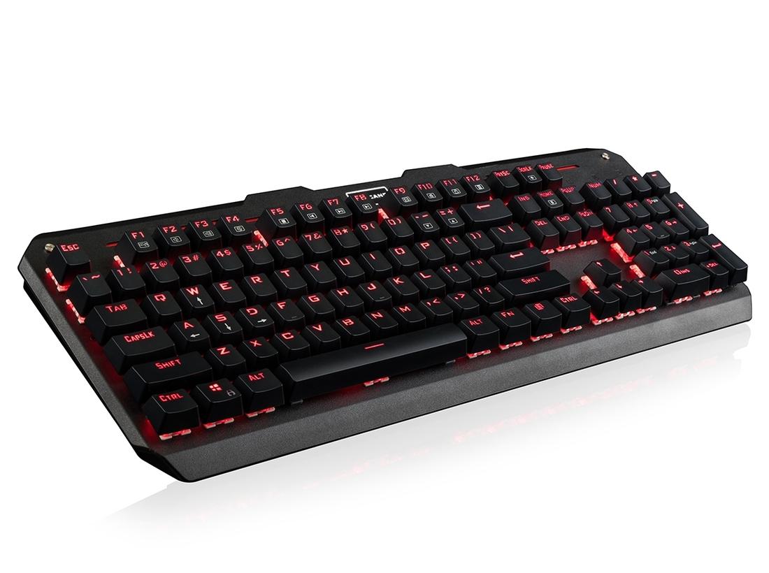 Modecom VOLCANO HAMMER drátová mechanická herní klávesnice (Outemu Blue), červené LED podsvícení, USB, US layout, černá