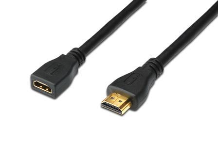 Digitus HDMI High Speed s Ethernetem prodlužovací kabel, typ A, M / F, 5,0 m, HDMI 1.4, UL, bl, zlacené kontakty