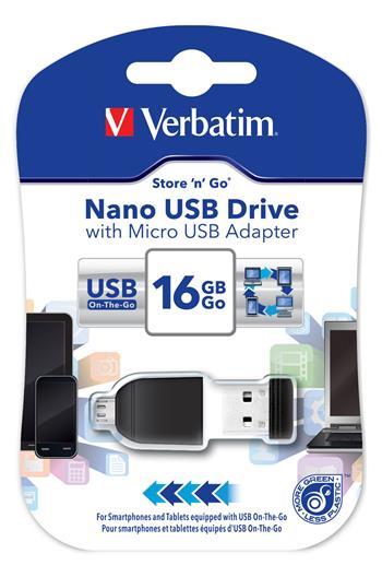 VERBATIM flashdisk 16GB USB 2.0 Store n Go NANO OTG + microUSB adaptér