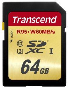 Transcend 64GB SDXC (Class 10) UHS-I U3 paměťová karta, 95 MB/s R, 60 MB/s W