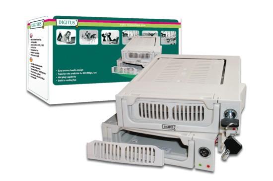 Výměnný rámeček Digitus 5,25'' pro SATA disky 3,5'', plastový, klíček, šedý