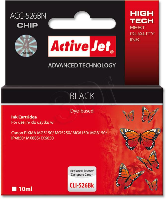 ActiveJet ink cartr. Canon CLI-526Bk - 10 ml - 100% NEW (WITH CHIP) ACC-526Bk
