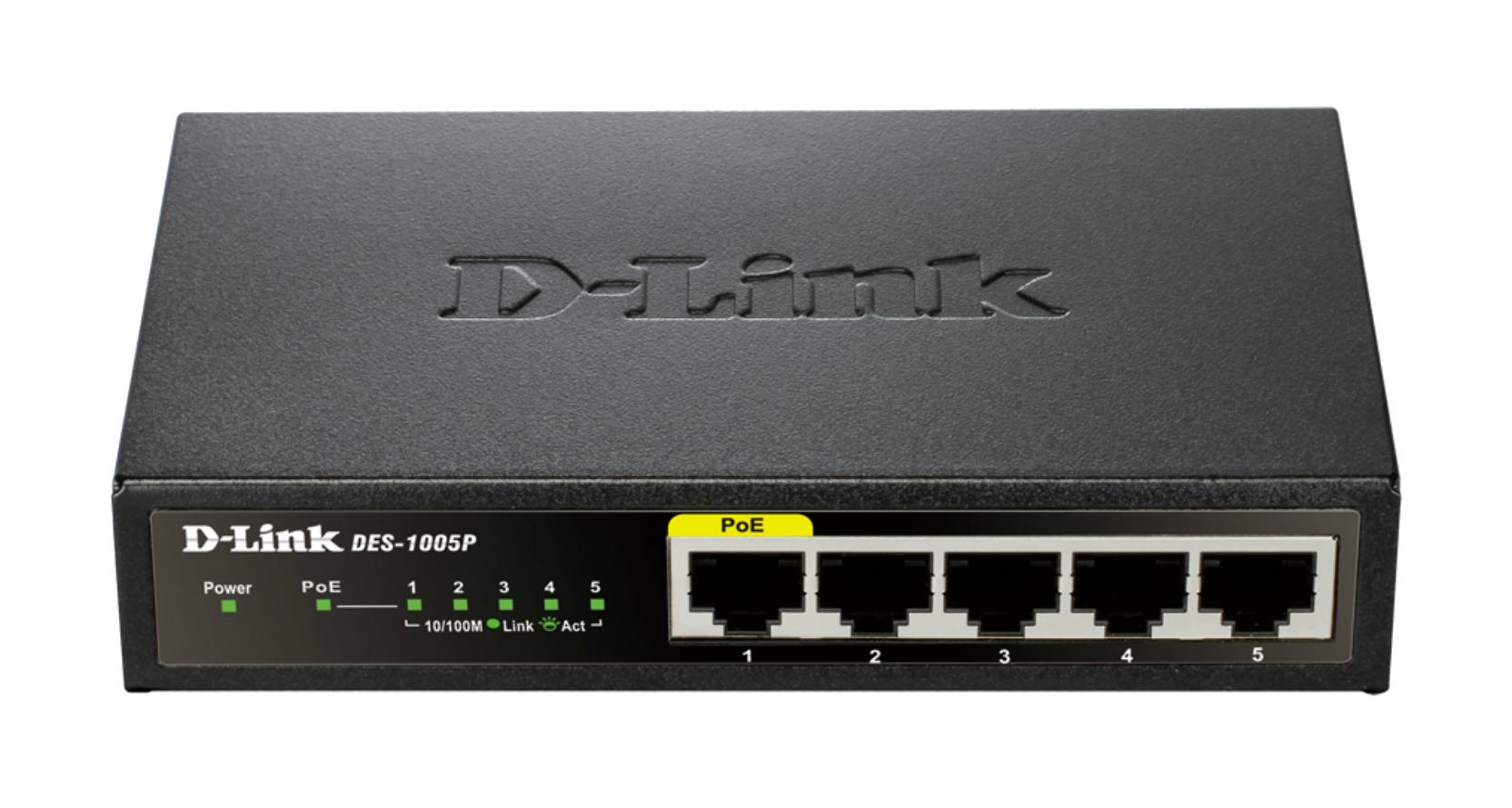 D-Link DES-1005P 5-Port Fast Ethernet PoE Desktop Switch