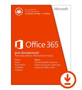 Office 365 pro domácnosti 32-bit/x64 All Lng - předplatné na 1 rok - elektronická licence