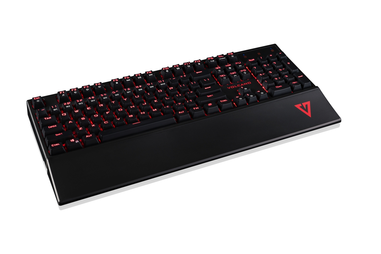 Modecom VOLCANO GAMER drátová mechanická herní klávesnice, červené LED podsvícení, USB, US layout, černá